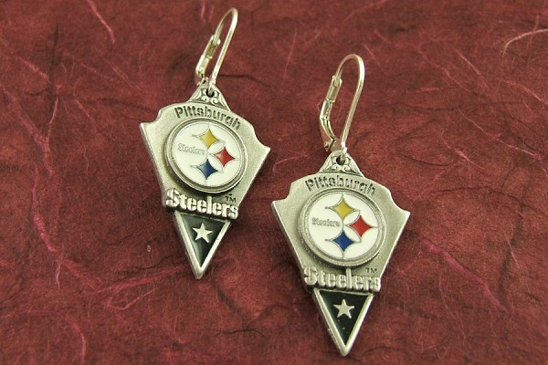 Officially Licensed Pittsburgh Steelers Earrings with Sterling Silver Clasps