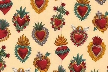 Half-Yard/s of Fabric - Corazones - Tea Dye