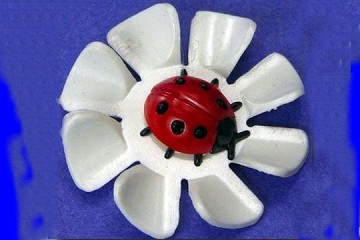 White Flower with Happy/Lucky Ladybug  (Ladybird) Vintage Hard Plastic Component