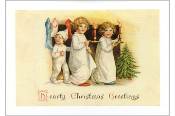 Dear Little Children with Candles and Stockings Christmas Card