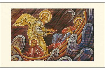 Storm on the Sea of Galilee Icon Style Holy Card