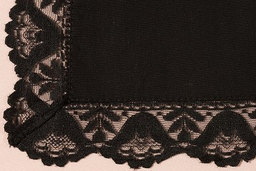Black Cotton Lace Handkerchief for Embroidery
