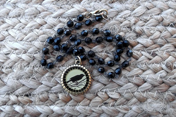 Maximal Art Raven Necklace on Black Crystal Chain