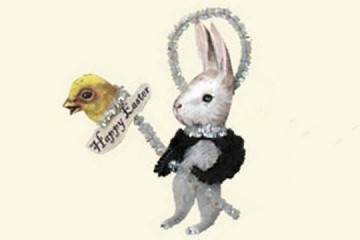 Old Fashioned Chenille Ornament - White Bunny with Dark Arms on Chick Stick (Happy Easter)