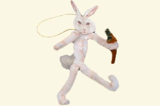 Old Fashioned Distressed Chenille Bunny with Carrot