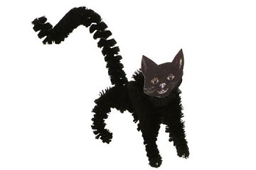 Old Fashioned Chenille and Scrap Ornament - Standing Black Cat