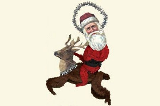 Chenille Santa Riding Reindeer Old Fashioned Chenille Ornament