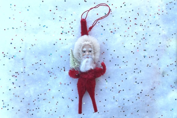Old-Fashioned Chenille Santa Ornament with White Tree