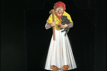 Vintage Spun Glass Ornament - Witch with Cat