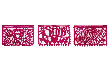 Intricately Hand Cut Papel Picado - Amor (Love)