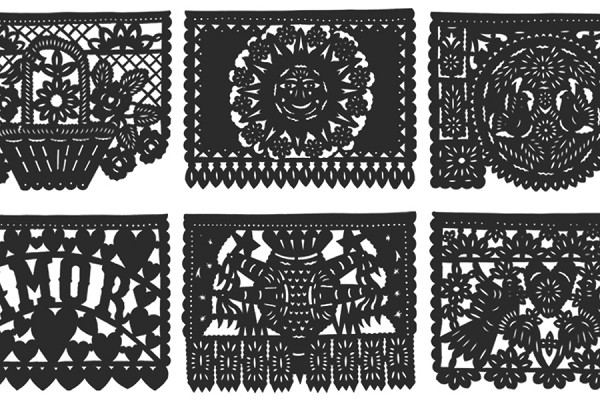 Intricately Hand Cut Black Tissue Papel Picado for Any Occasion