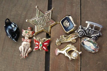 Assortment of 9 Vintage Novelty Pins
