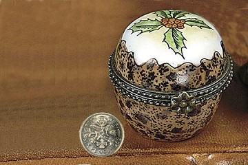 Porcelain Plum Pudding Box with Authentic Sixpence
