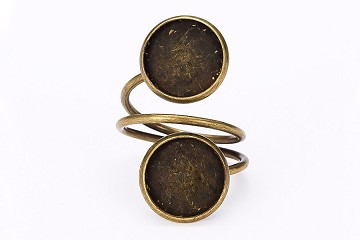 Antiqued Bronze Double Adjustable Ring Base Set including 2 Acrylic Cabochons