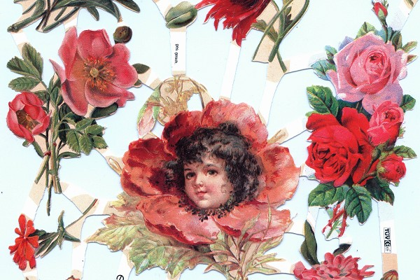 Pretty Little Red Flower Girl - Retired Reproduction Chromolithograph Embossed Die Cut Reliefs