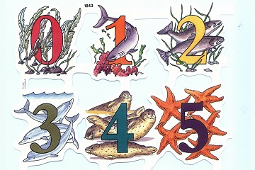 Sea Life Numbers Set of Embossed Die Cut Relief Scraps