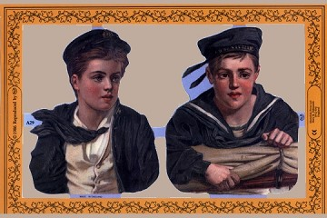 Reproduction Chromolithograph Embossed Die-Cut Reliefs - Young Sailors