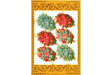 Bold Bouquets - Reproduction Chromolithograph Embossed Die-Cut Scrap Reliefs