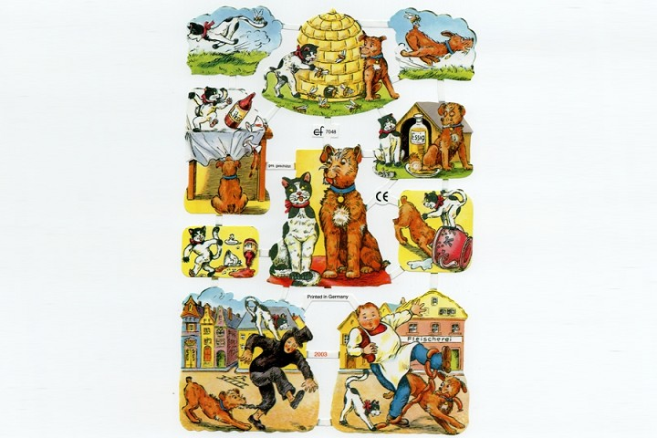 Fun Loving Cats & Dogs Chromolithograph Embossed Die-Cut Scraps