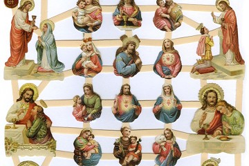 Reproduction Chromolithograph Embossed Die-Cut Scrap Reliefs - Jesus and Family