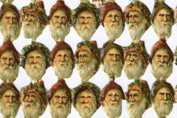 Reproduction Chromolithograph Diecut & Embossed Scraps (262 per page!) - Mini Santa Head