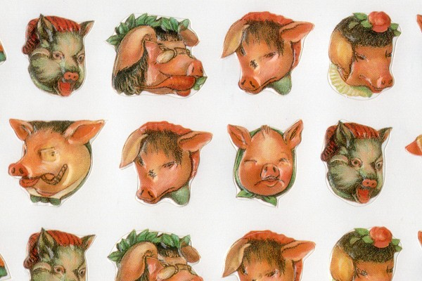 Rare B.Shackman Tiny Pig Stickers - 120 in All!