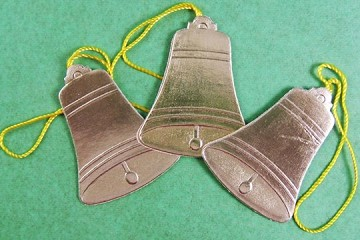 Package of 3 Vintage Golden Dresden Bell Ornaments with Cords