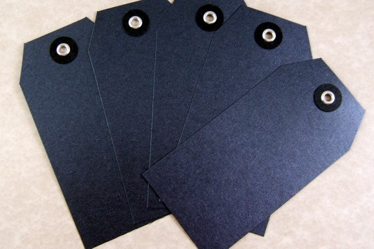 Dark Silver Sparkly Graphite Vellum Tags - Package of 5