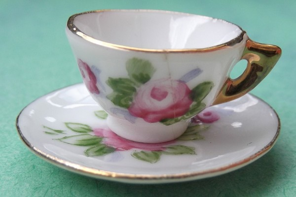 Vintage Tiny Dollhouse China Tea Cup and Saucer