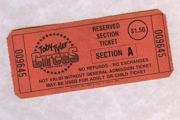Vintage Toby Tyler Reserved Seat Circus Ticket in Protective Glassine Sleeve
