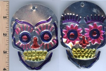 Hand-Made and Painted Tin Sugar Skull Ornament