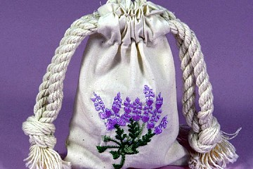 Small Natural Muslin Drawstring Bag with Lavender Embroidery