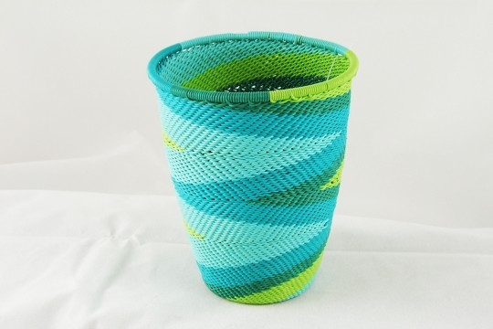 Zulu Mbenge Telephone Wire Art Pencil Cup - Turquoise Jewel tones