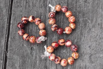 Circle of 10 Mini Wooden Red Beads