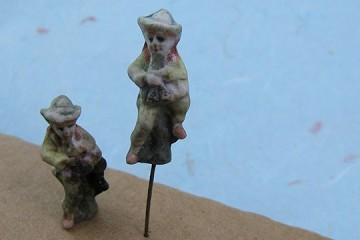 Tiny Vintage Hand-Painted Bisque Sitting Figurine