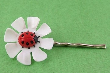 Vintage Lucky Ladybug and Flower Bobby Pin or Bookmark