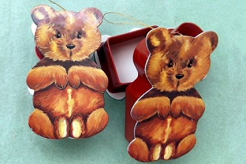 Old-Timey Die Cut Teddy Bear Box Ornament with Golden Accents