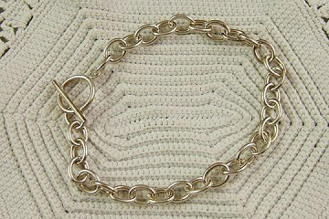 7-1/2 Inch Sterling Cable Bracelet with Toggle Clasp (6.2mm link)