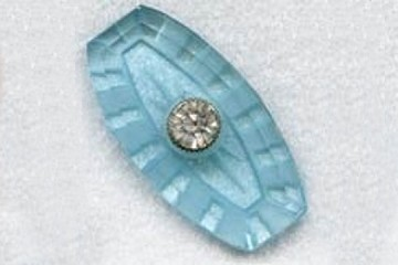 Vintage Glass & Rhinestone Cabochon in the Palest of Blues
