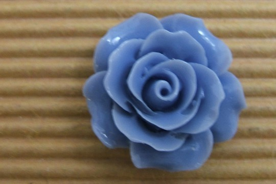 French Blue Plastic Rose Cabochon