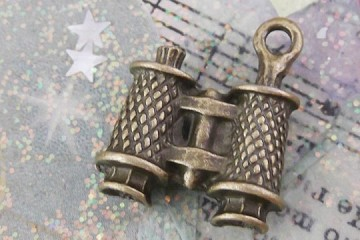 Antiqued Bronze Binoculars Charm