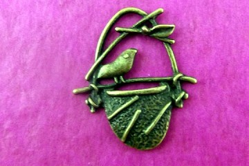 Antiqued Bronze Bird in Nest Charm