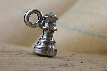 Tiny Silvery Chess Queen Charm