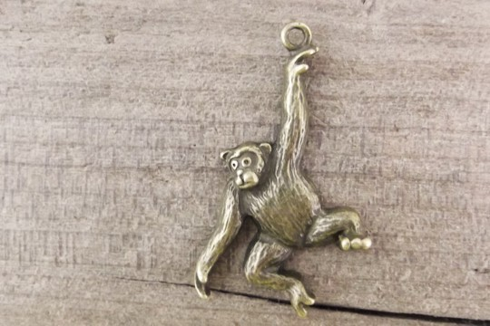 Antiqued Bronze Swinging Chimpanzee Charm