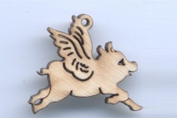 Laser Carved Wooden Flying Pig Charm