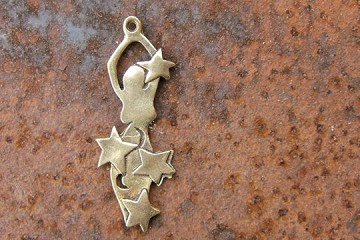 Artisan Made Goddess of the Stars Pendant or Charm in Bronze