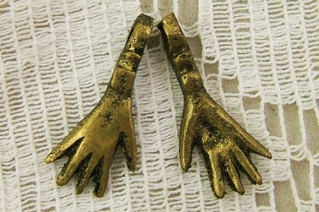Hand Made Oxidized Brass or Bronze Hand Charm