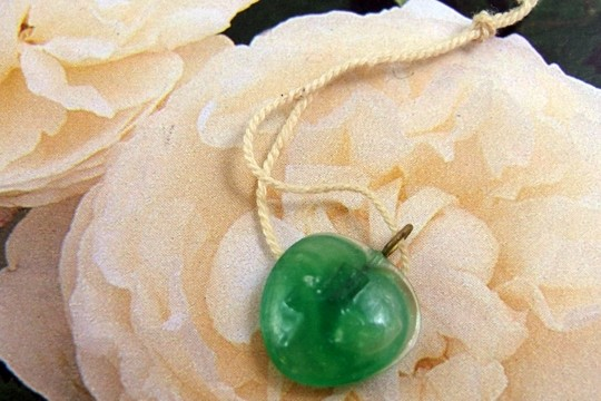 Vintage GREEN HEART with CROSS Pressed Glass Charm