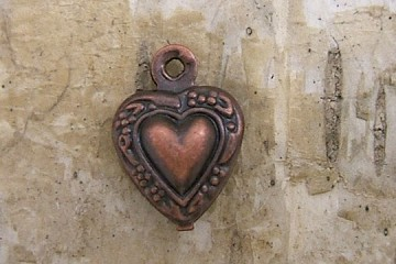 Mini Copper Filigree Heart Charm