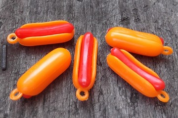 Vintage Plastic Hot Dog Charm - Package of 5